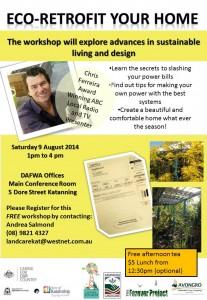 Eco-Retrofit Your Home workshop - Katanning - 1-4pm, 9 August 2014