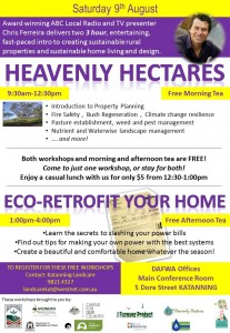 Heavenly Hectares AND Eco-Retrofit Your Home workshops, 9 August, 9:30-4, Katanning.