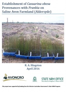 Report: Establishment of Casuarina obesa provenances with Frankia on Saline Avon Farmland (Aldersyde)