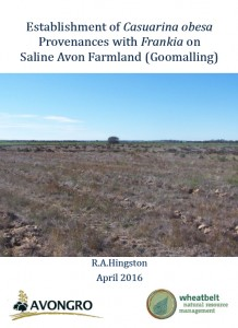 Report: Establishment of Casuarina obesa provenances with Frankia on Saline Avon Farmland (Goomalling)